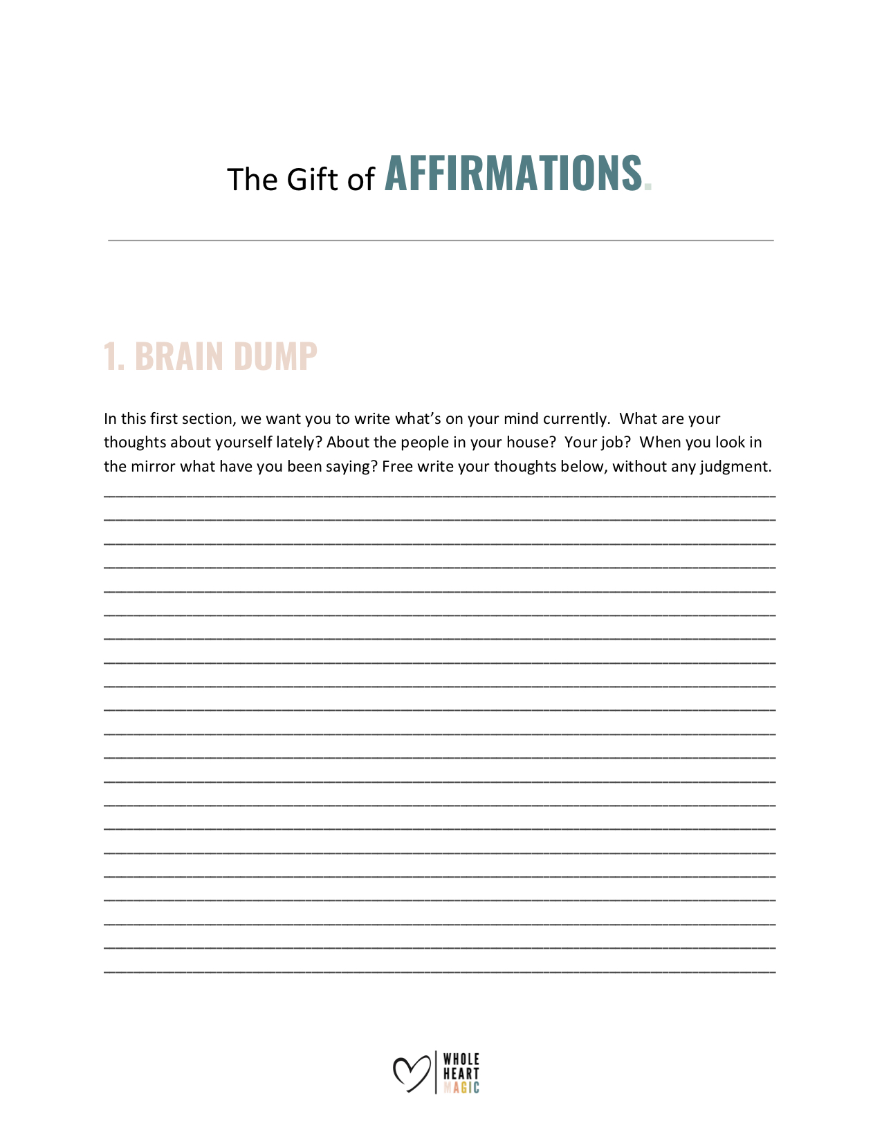 photo regarding Brain Dump Worksheet known as Worksheets Complete Center Magic